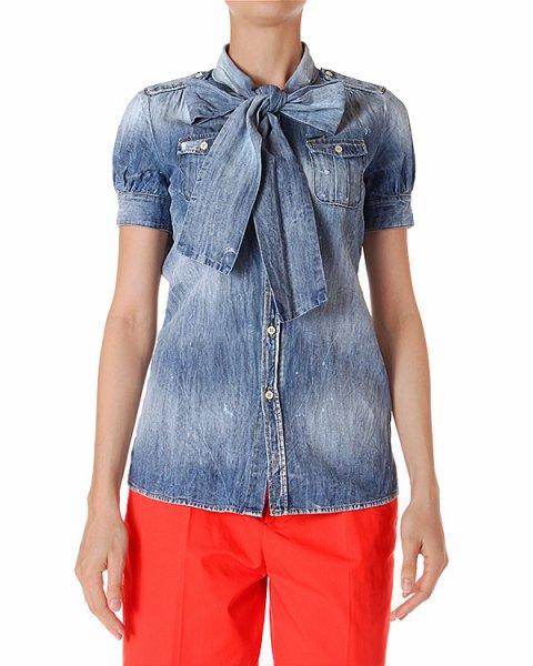 блуза с объемным бантом и рукавами-фонариками артикул S72DL0348-S30114 марки DSQUARED купить за 9700 руб.