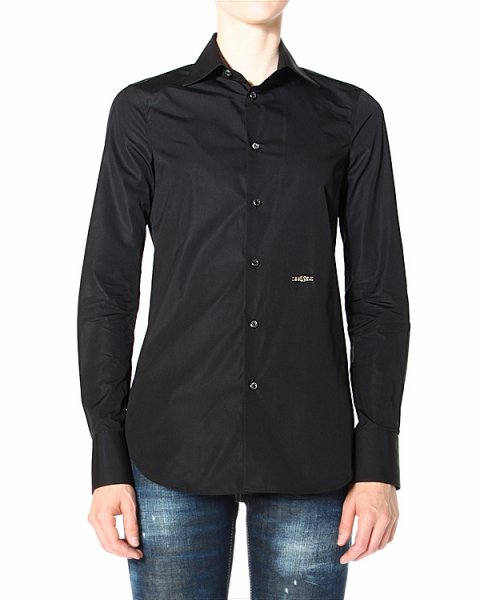 рубашка приталенного силуэта, с золотистым логотипом бренда артикул S72DL0370 марки DSQUARED купить за 11600 руб.