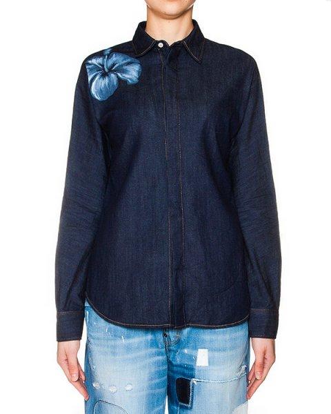 рубашка из денима с цветочным принтом артикул S72DL0433 марки DSQUARED купить за 14500 руб.