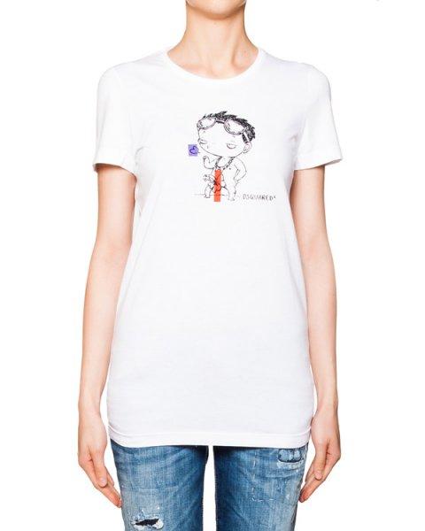футболка из мягкого хлопка с ироничным фактурным рисунком артикул S72GC0918 марки DSQUARED купить за 12500 руб.