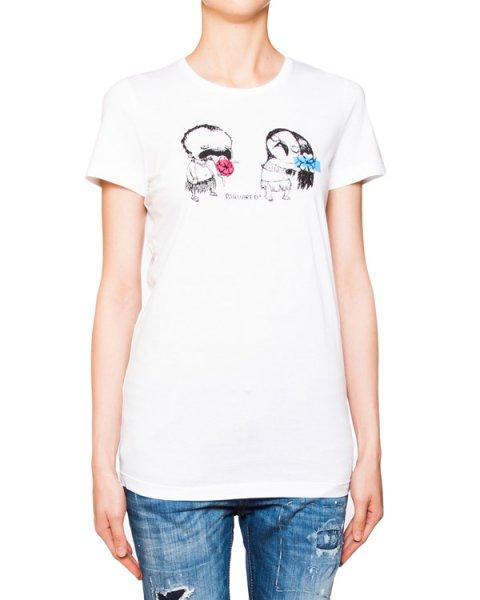 футболка из мягкого хлопка с ироничным фактурным рисунком артикул S72GC0919 марки DSQUARED купить за 12500 руб.