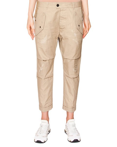 брюки укороченные boyfriend из плотного хлопка артикул S72KA0600 марки DSQUARED купить за 48400 руб.