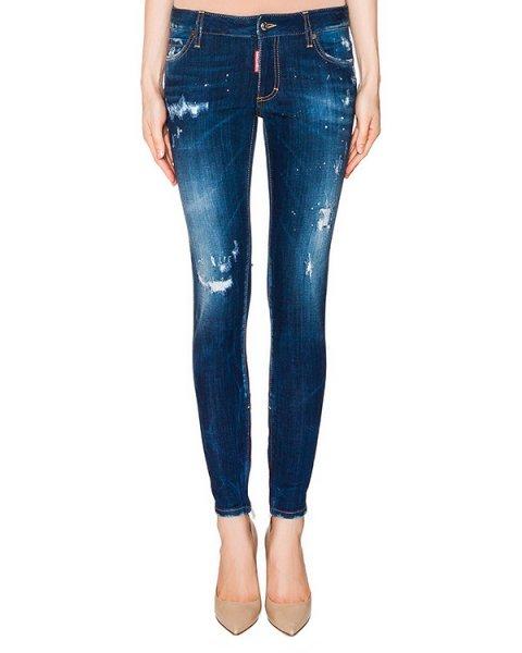 джинсы из плотного потертого денима артикул S72LA0817 марки DSQUARED купить за 33900 руб.