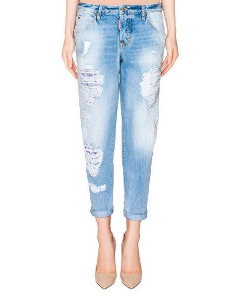 джинсы с отворотами из потертого денима артикул S72LA0824 марки DSQUARED купить за 27100 руб.