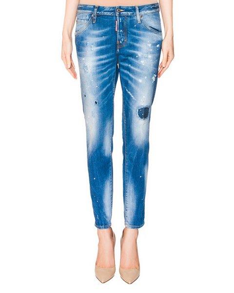 джинсы зауженного кроя из плотного потертого денима артикул S72LA0827 марки DSQUARED купить за 37600 руб.