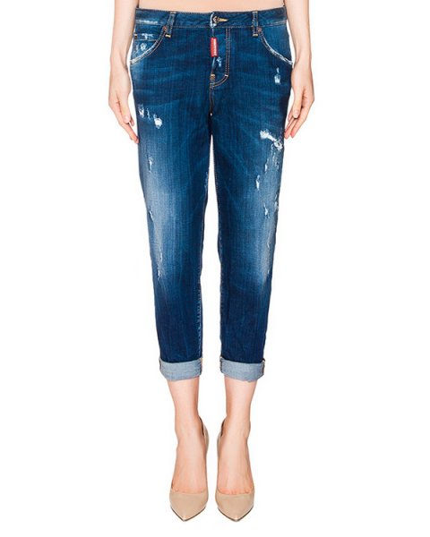 джинсы укороченные с отворотами, из плотного потертого денима артикул S72LA0842 марки DSQUARED купить за 33900 руб.
