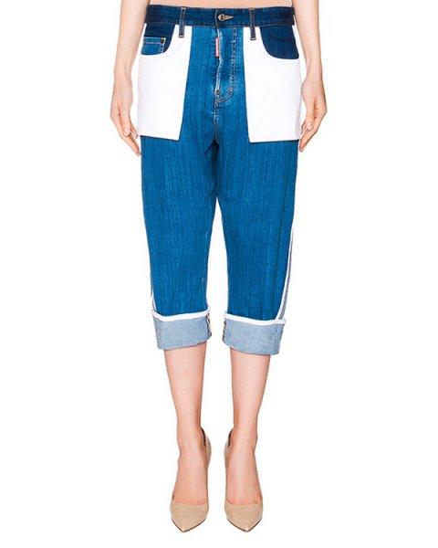 джинсы укороченные boyfriend из потертого денима, дополнены белыми накладными карманами артикул S72LA0862 марки DSQUARED купить за 43600 руб.