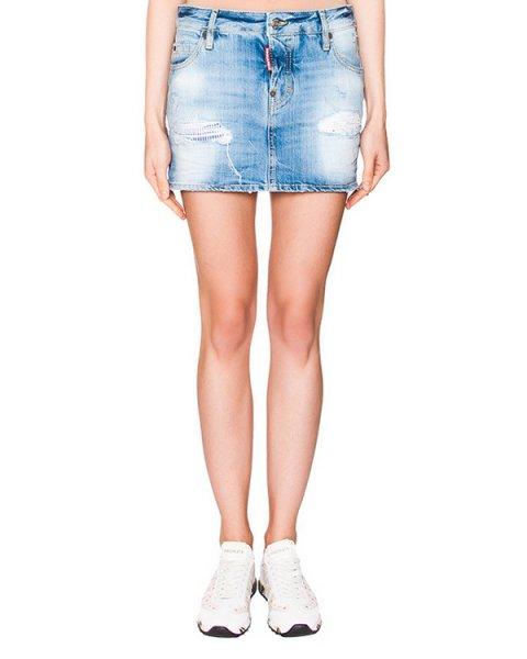 юбка из плотного потертого денима артикул S72MA0509 марки DSQUARED купить за 15800 руб.