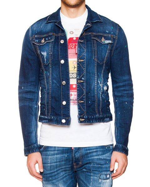 куртка из плотного денима с потертостями артикул S74AM0596 марки DSQUARED купить за 21500 руб.