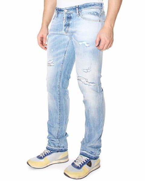 джинсы SLIM JEAN зауженного кроя, с искусственными потертостями артикул S74LA0675 марки DSQUARED купить за 12300 руб.