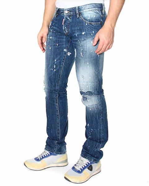 джинсы SLIM JEAN с эффектом искусственных потертостей и декоративной заплаткой артикул S74LA0712 марки DSQUARED купить за 13400 руб.