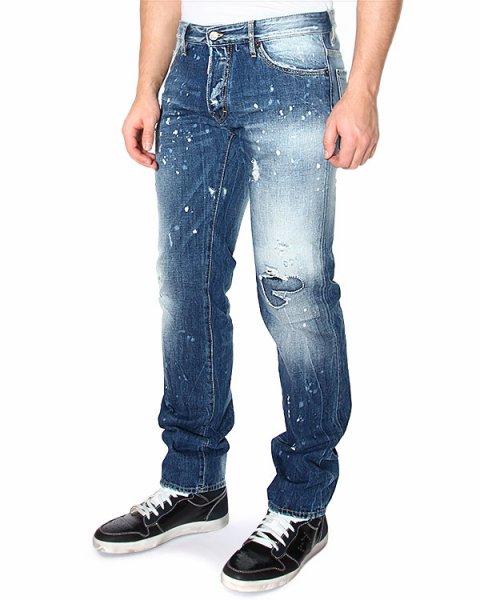 джинсы DEAN JEAN зауженного кроя, с низкой посадкой и декоративной заплаткой на колене артикул S74LA0732 марки DSQUARED купить за 13400 руб.