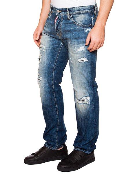 джинсы из плотного денима с потертостями артикул S74LA0897 марки DSQUARED купить за 22000 руб.