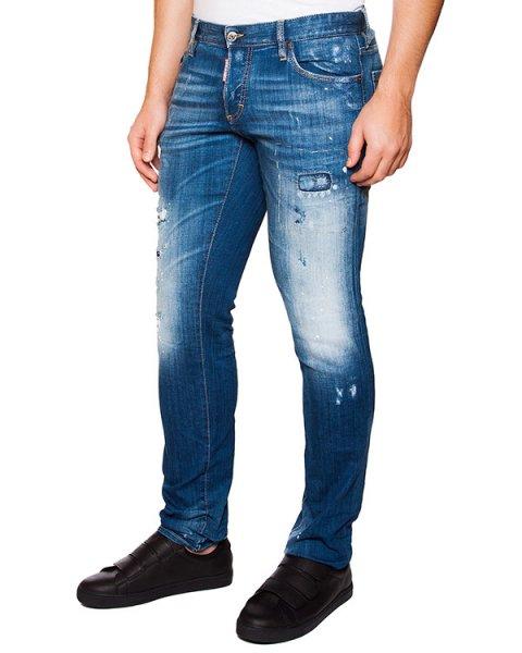 джинсы зауженного кроя с потертостями артикул S74LA0901 марки DSQUARED купить за 21300 руб.