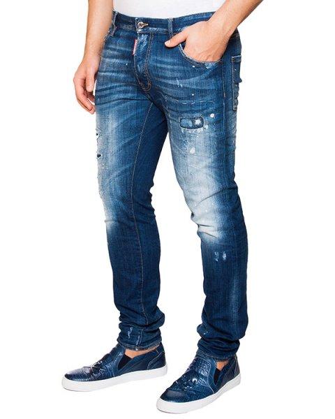 джинсы зауженного кроя с потертостями артикул S74LA0902 марки DSQUARED купить за 21300 руб.