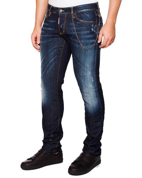 джинсы зауженного кроя с потертостями артикул S74LA0907 марки DSQUARED купить за 20600 руб.