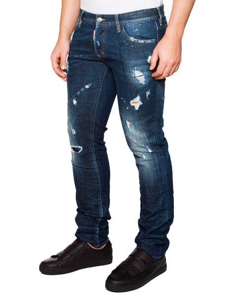 джинсы зауженного кроя с потертостями артикул S74LA0924 марки DSQUARED купить за 19900 руб.