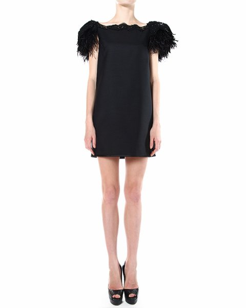 платье с кружевной вышивкой и аппликацией из перьев артикул S75CT0932 марки DSQUARED купить за 77200 руб.