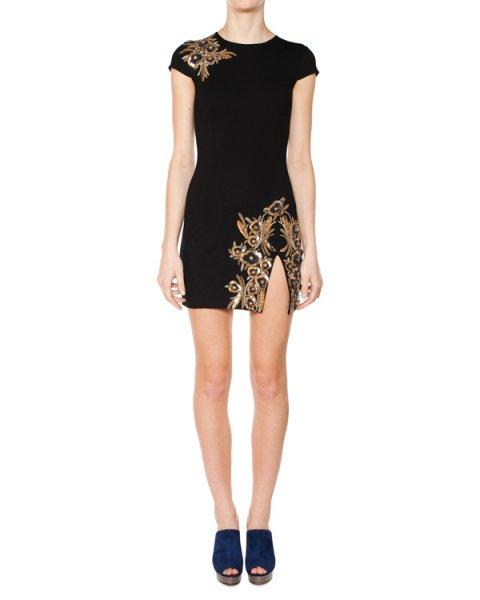 платье из плотного трикотажа с разрезом, вручную расшито бисером артикул S75CU0042 марки DSQUARED купить за 51500 руб.