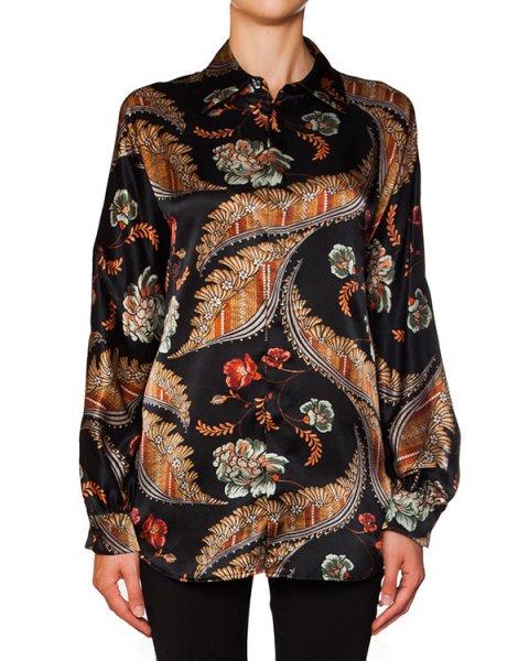 рубашка из струящегося шелка с яркими цветочными рисунками артикул S75DL0440 марки DSQUARED купить за 21800 руб.