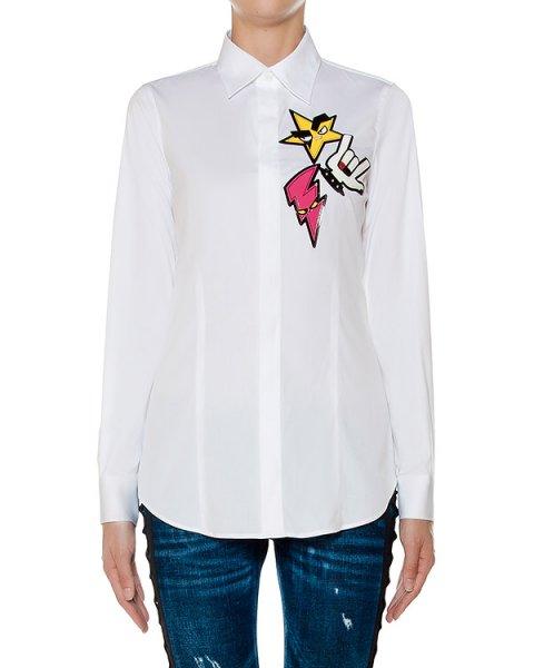 рубашка классического кроя из хлопка, дополнена аппликациями артикул S75DL0497 марки DSQUARED купить за 32000 руб.