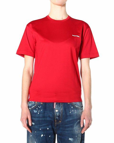 футболка прямого кроя с коротким рукавом и круглым вырезом горловины артикул S75GC0695 марки DSQUARED купить за 5500 руб.