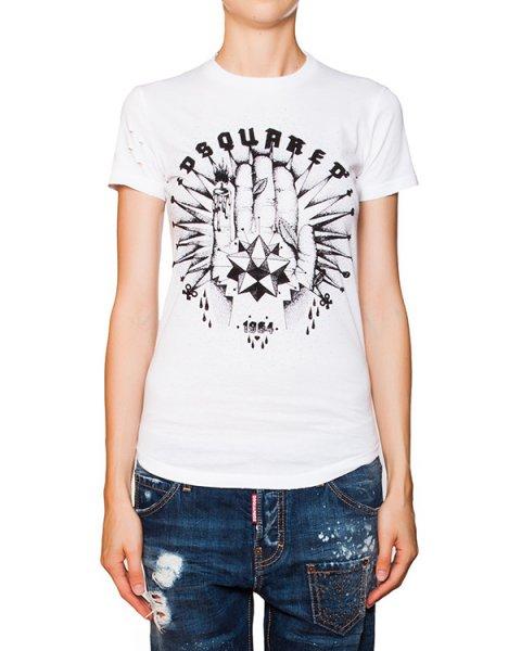 футболка из трикотажа с фактурным узором артикул S75GC0760 марки DSQUARED купить за 6500 руб.