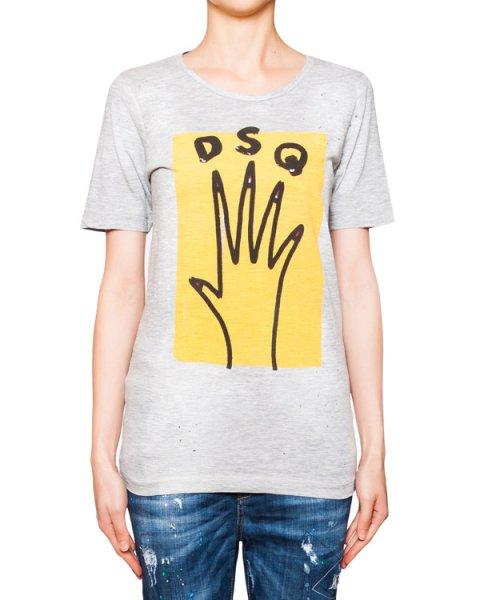 футболка из мягкого трикотажа с ярким принтом артикул S75GC0778 марки DSQUARED купить за 15800 руб.
