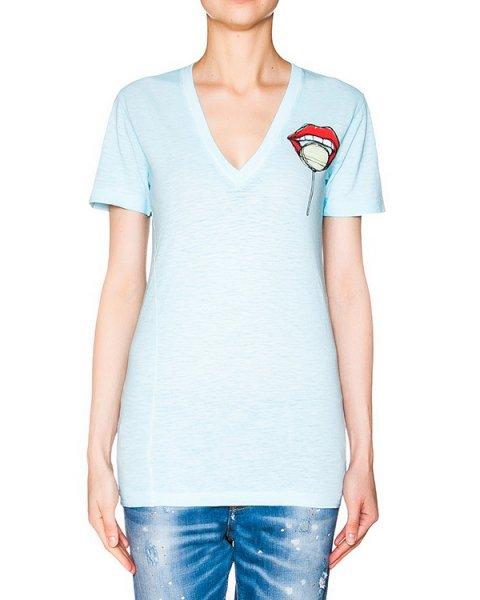 футболка из микса хлопка и льна с вышивкой и принтом артикул S75GC0781 марки DSQUARED купить за 9700 руб.