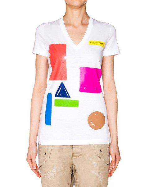футболка из хлопкового трикотажа с ярким принтом артикул S75GC0785 марки DSQUARED купить за 6700 руб.
