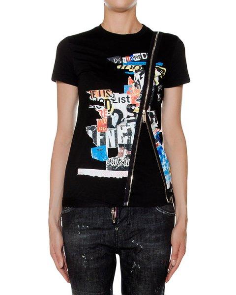 футболка из хлопкового трикотажа с принтом и молнией артикул S75GC0805 марки DSQUARED купить за 28600 руб.