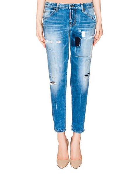 джинсы из плотного потертого денима с заплатками артикул S75LA0722 марки DSQUARED купить за 43600 руб.