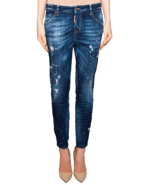 джинсы зауженного кроя с потертостями артикул S75LA0726 марки DSQUARED купить за 32500 руб.