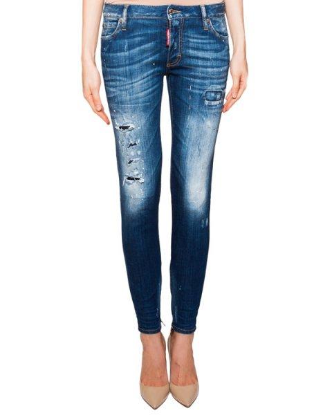 джинсы зауженного кроя с потертостями и молниями  артикул S75LA0729 марки DSQUARED купить за 22800 руб.