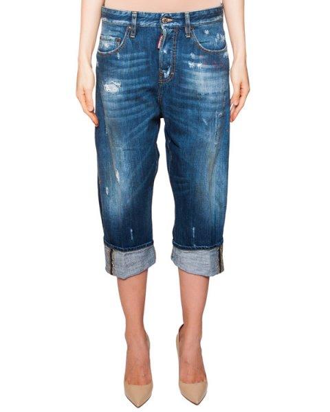джинсы укороченные свободного кроя с широкими отворотами и потертостями артикул S75LA0736 марки DSQUARED купить за 21300 руб.