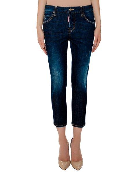 джинсы слегка укороченные, дополнены аппликациями артикул S75LA0827 марки DSQUARED купить за 35200 руб.
