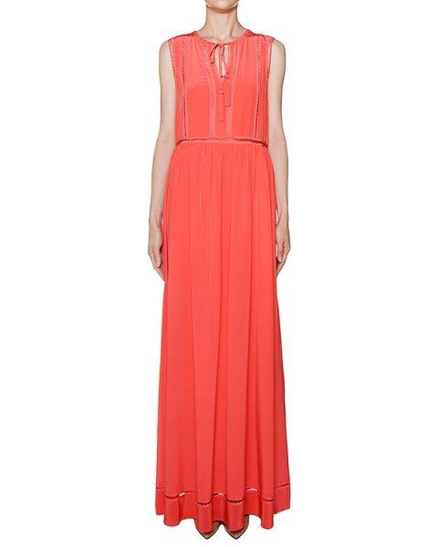 платье в пол из легкого шелка с отделкой артикул SELENE720599 марки P.A.R.O.S.H. купить за 16600 руб.