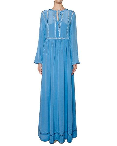 платье в пол из легкого шелка с отделкой артикул SELENE720600 марки P.A.R.O.S.H. купить за 17700 руб.