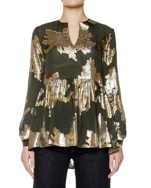 блуза свободного кроя из шелка, украшена золотистым узором артикул SEM310217 марки P.A.R.O.S.H. купить за 17700 руб.