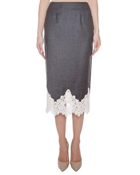 юбка из тонкой шерсти, дополнена кружевом артикул SK0531014 марки Graviteight купить за 32800 руб.