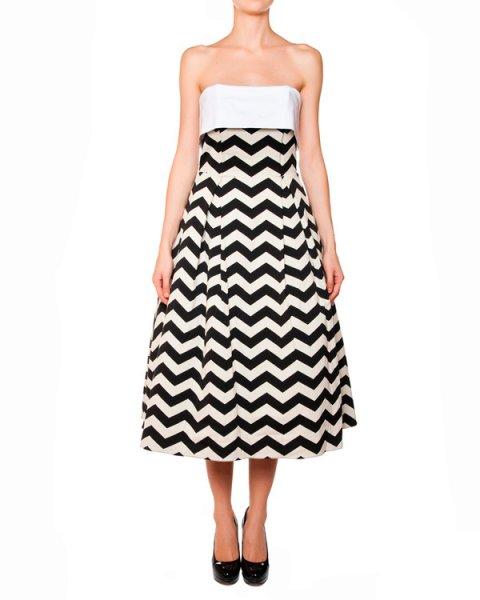 платье из плотной ткани с геометрическим рисунком, дополнено широким отворотом артикул SS1520 марки Raluca Mihalceanu купить за 51600 руб.