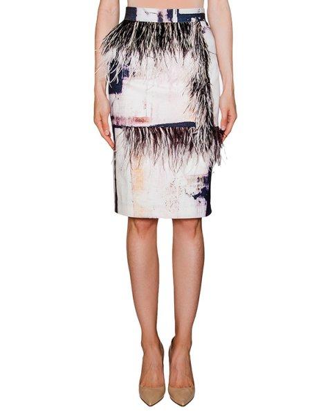 юбка из плотного хлопка с принтом, декорирована перьями страуса артикул SS16040 марки AVTANDIL купить за 24300 руб.