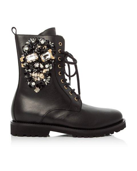 ботинки из натуральной кожи декорированы аппликацией из пайеток артикул SW031216 марки PHILIPP PLEIN купить за 41400 руб.