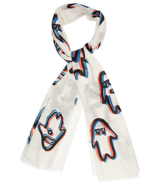 шарф из тонкой шерсти и шелка с принтом артикул TC69AD015 марки Tsumori Chisato купить за 26000 руб.