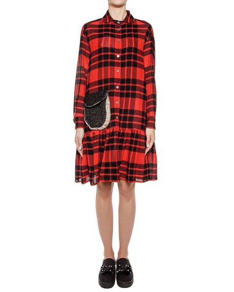 платье из шерстяного трикотажа в клетку, дополнена накладным вязаным карманом артикул TC69FH092 марки Tsumori Chisato купить за 46600 руб.