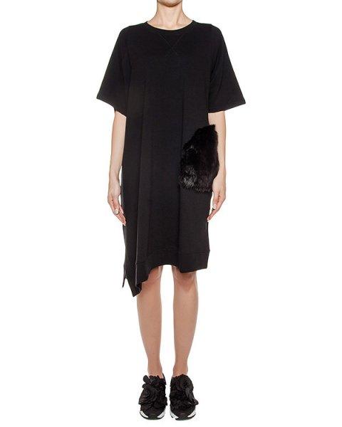 платье асимметричного кроя из хлопкового трикотажа, дополнен вставкой из искусственного меха артикул TC69JH251 марки Tsumori Chisato купить за 26000 руб.