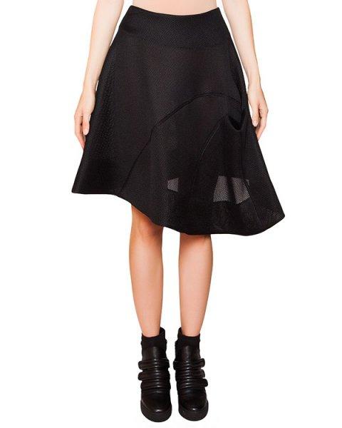 юбка асимметричного кроя из плотной перфорированной ткани артикул TD0902 марки TOM REBL купить за 22400 руб.