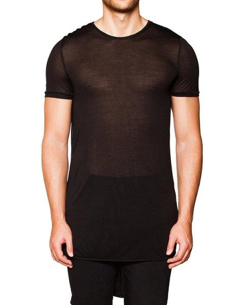 футболка оригинального кроя из мягкой полупрозрачной ткани с драпировкой на спине артикул TU0634-1210 марки TOM REBL купить за 11400 руб.