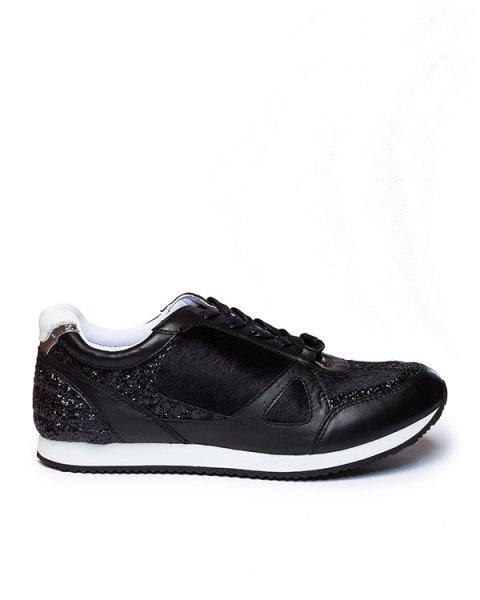 кроссовки из натуральной кожи с отделкой мехом и блестками артикул V1006 марки Rachel Zoe купить за 7700 руб.