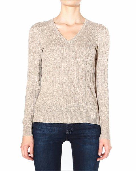 пуловер с V-образным воротом, крупной вязки с узором